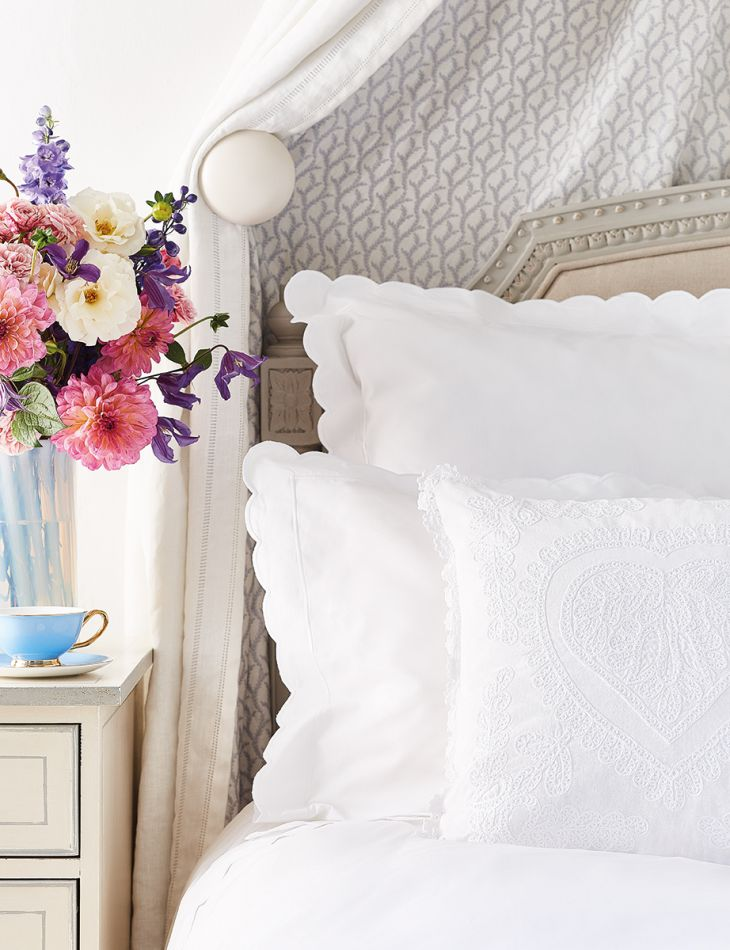 White Scalloped Bed Linen Collection, White Bed Sheets Queen