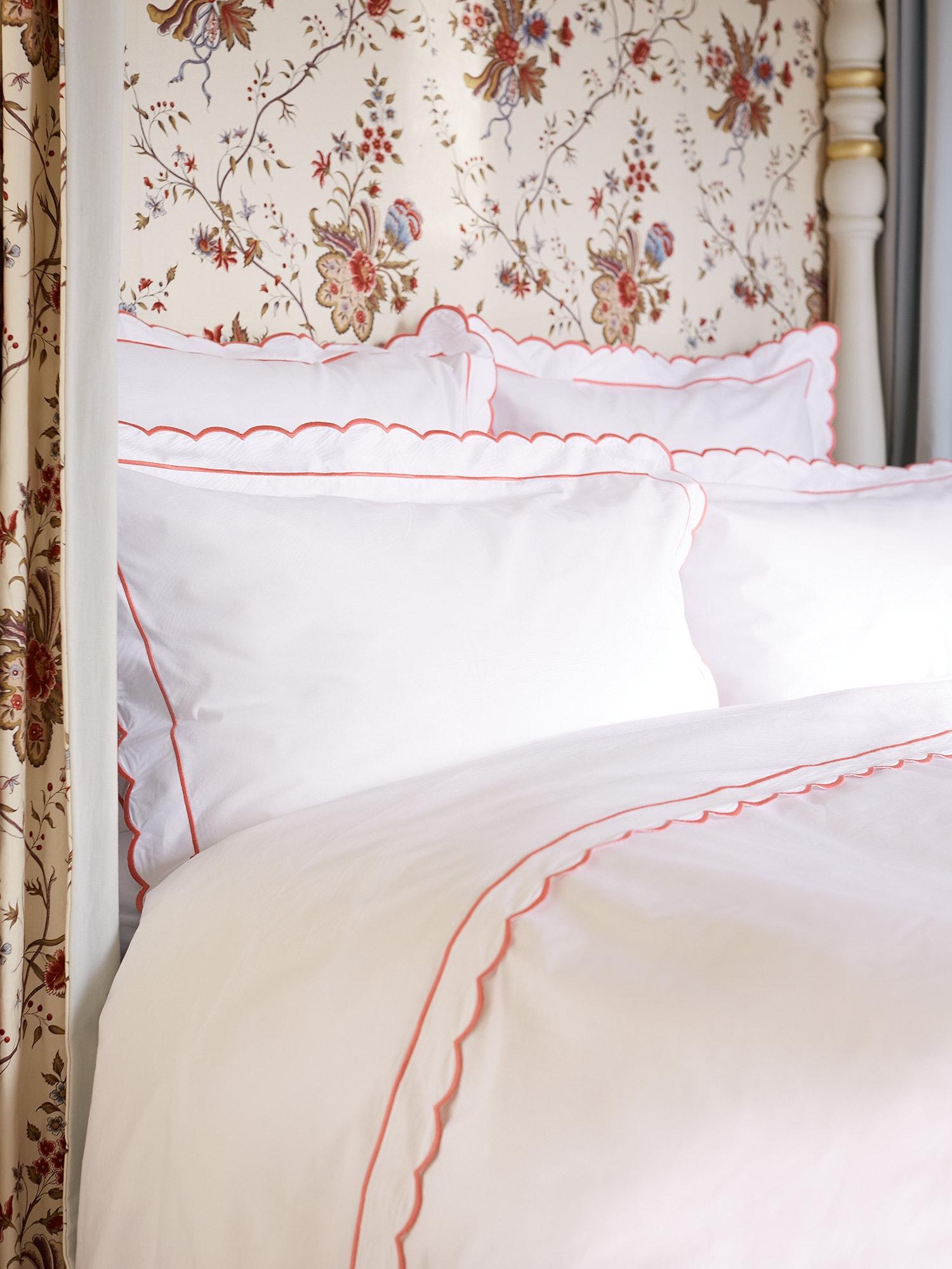 scallop luxury duvet bed cover linens linen schweitzer scallops italian bedding
