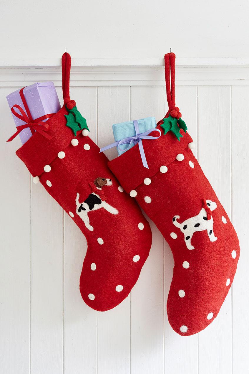 Red Felt Christmas Stockings   Sophie Conran Shop
